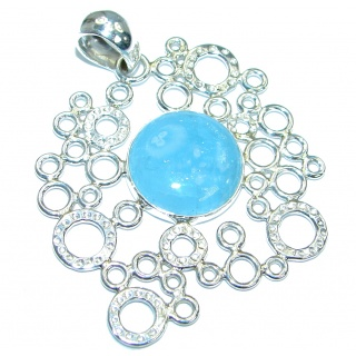 Abstract World Genuine Aquamarine .925 Sterling Silver handmade Pendant