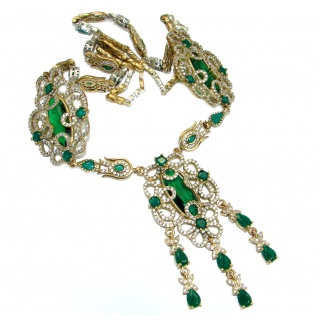 Victorian Style created Green Emerald & White Topaz .925 Silver Statement necklace