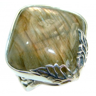 Fire Labradorite .925 Sterling Silver handmade ring size 7 adjustable