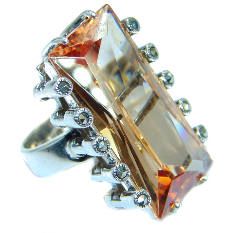 Huge Golden Topaz .925 Sterling Silver .925 Ring size 5 3/4