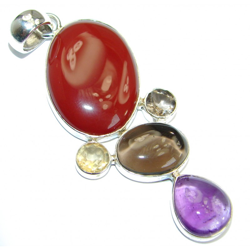 Authentic Carnelian .925 Sterling Silver handmade Pendant