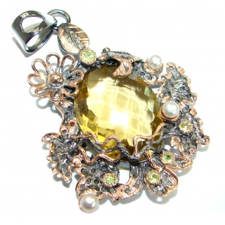 Vintage Design Genuine Citrine 18ct Gold over .925 Sterling Silver handcrafted pendant
