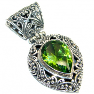 Forget me not Green Topaz .925 Sterling Silver handmade Pendant