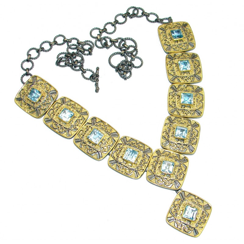 Cleopatra Swiss Blue Topaz Gold Rhodium over .925 Sterling Silver handmade necklace