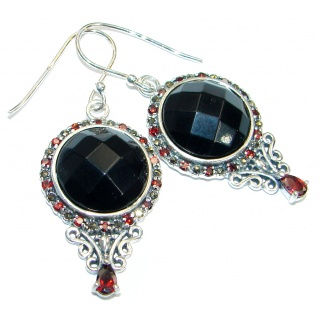 Just Perfect Black Onyx & Garnet Sterling Silver earrings