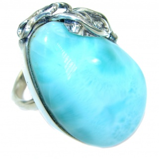 Huge Genuine Larimar .925 Sterling Silver handcrafted Ring s. 7 adjustable