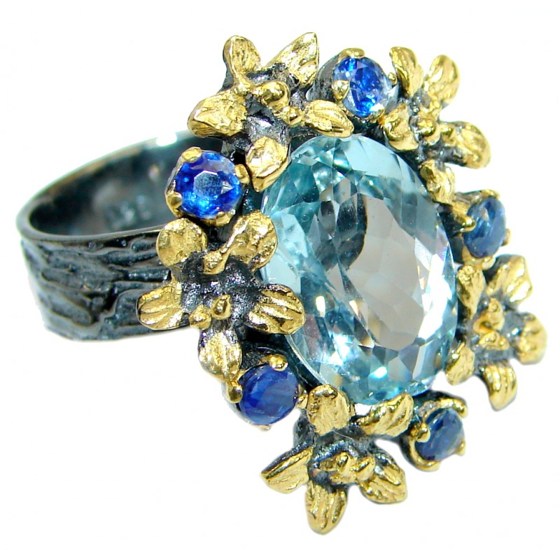 Drop of the Ocean Swiss Blue Topaz 14K Gold over .925 Sterling Silver handmade Ring size 7 adjustable