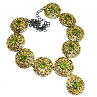 Cleopatra Peridot 14k Gold Rhodium over .925 Sterling Silver handmade necklace