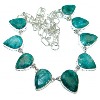 Green Emerald .925 Silver hancrafted necklace