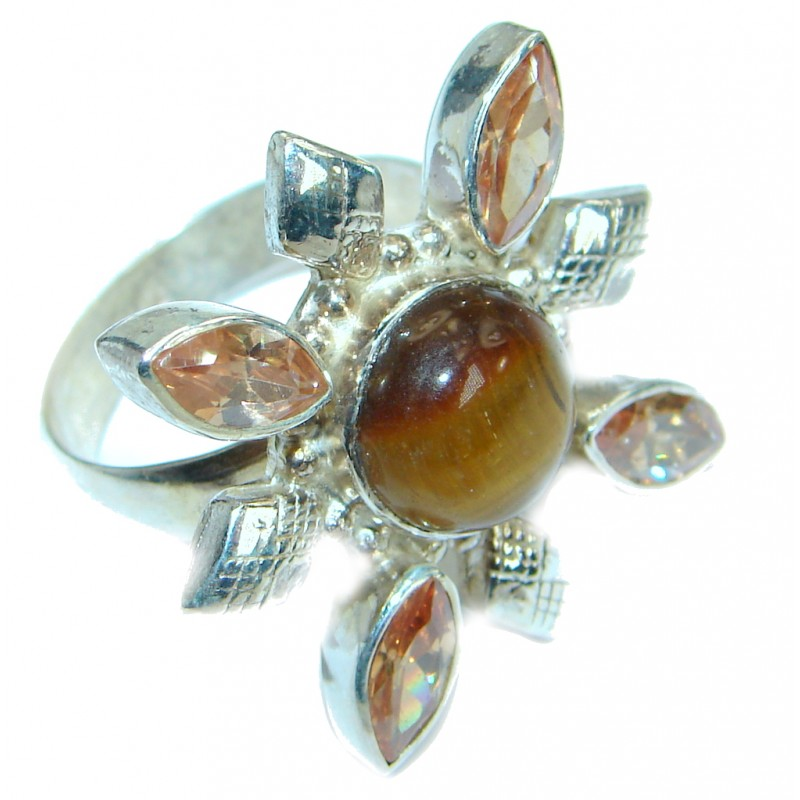 Golden Tigers Eye Sterling Silver ring s. 9
