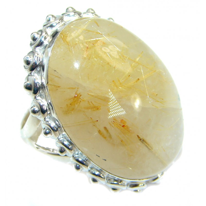 Golden Rutilated Quartz .925 Sterling Silver handcrafted Ring Size 4 1/2