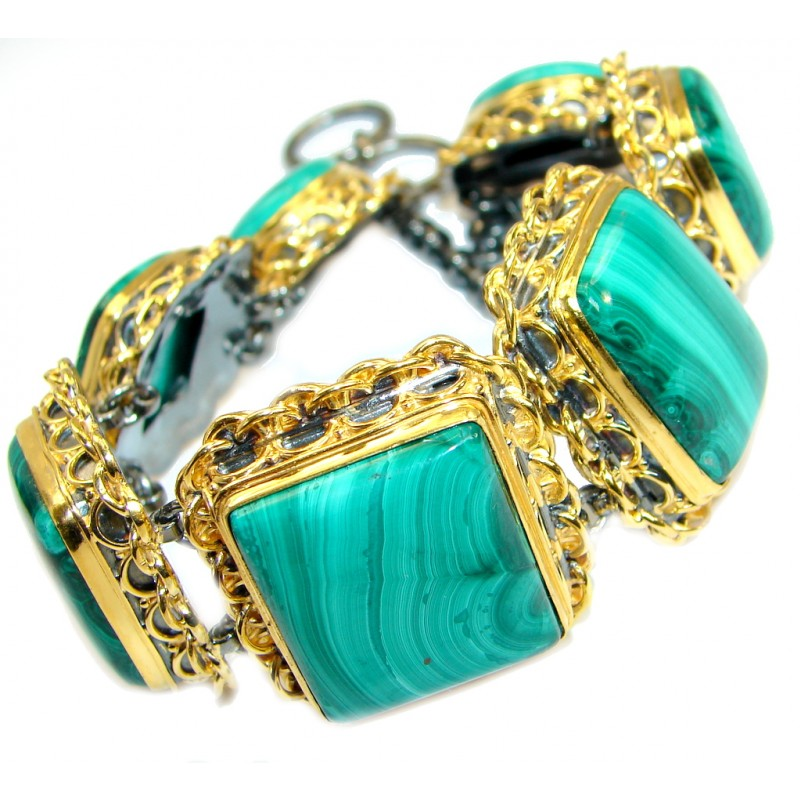 Huge and Bold genuine Malachite 14K Gold over .925 Sterling Silver handmade bracelet