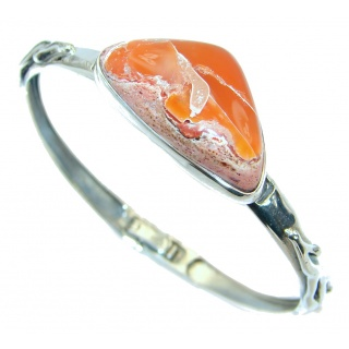 One of the kind Orange Mexican Fire Opal .925 Sterling Silver Bracelet / Cuff