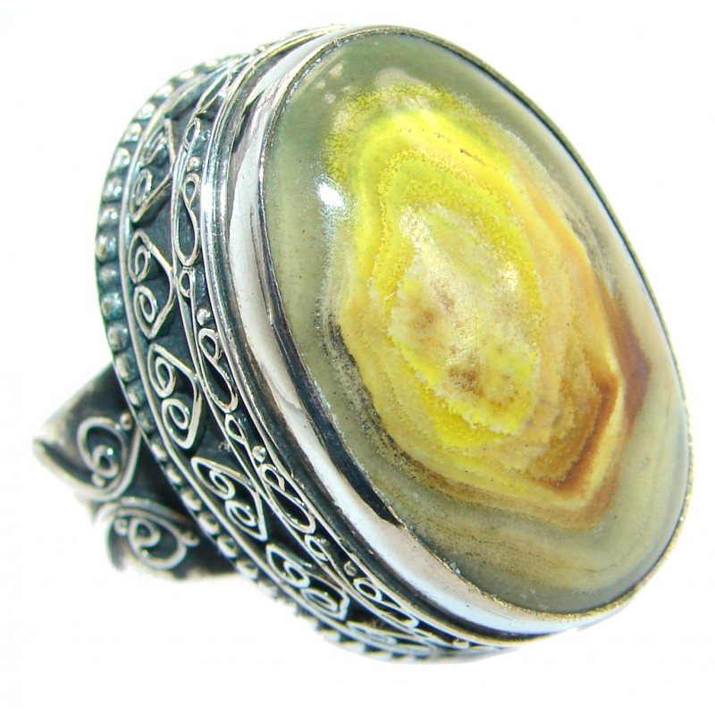 Large Beauty Yellow Bumble Bee Jasper Sterling Silver ring s. 9