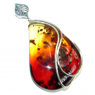 Huge Vintage Design natural Baltic Amber .925 Sterling Silver handmade Pendant
