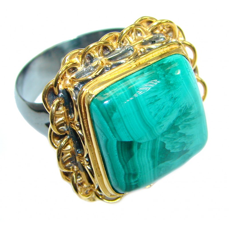 Natural Sublime quality Malachite .925 Sterling Silver handcrafted ring size 6 adjustable