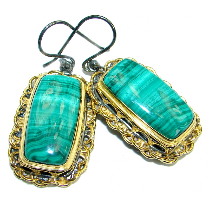 Fancy Green Malachite 14K Gold over .925 Sterling Silver handmade earrings