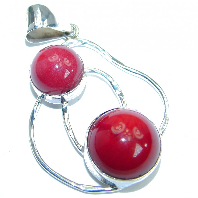 True Love Red Fossilized Coral hammered .925 Sterling Silver pendant