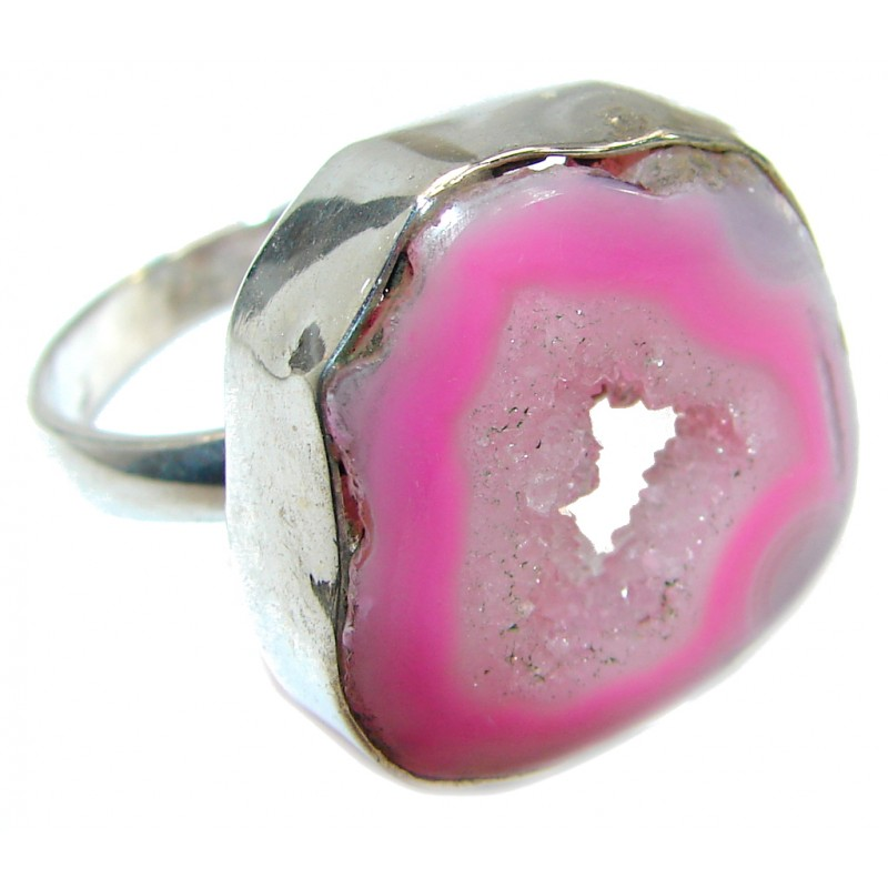 Magic Agate .925 Sterling Silver handmade Statement Ring s. 8 1/2