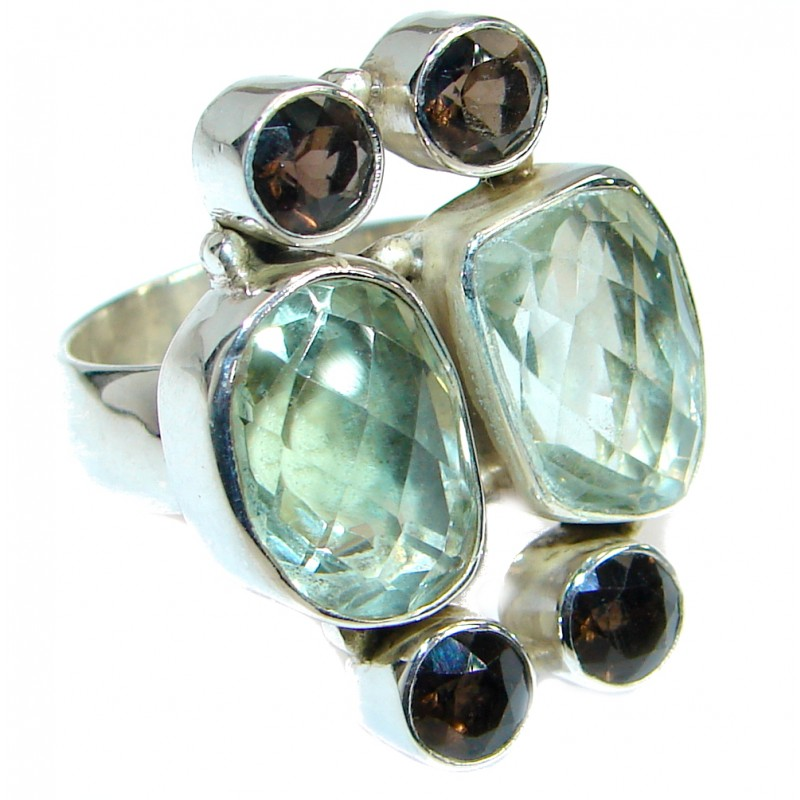 Vintage Style Green Amethyst .925 Sterling Silver handmade Cocktail Ring s. 7