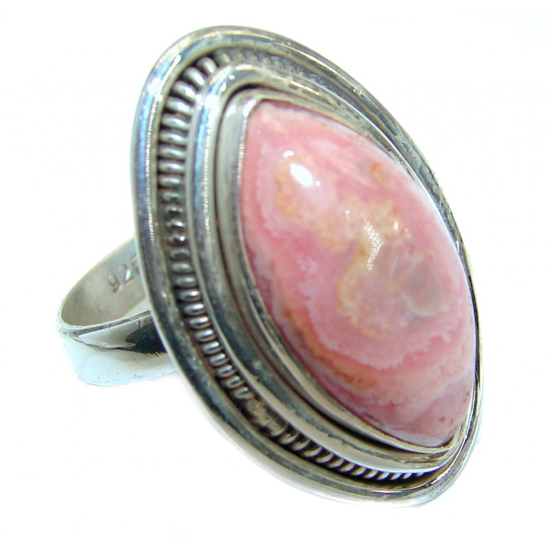 Perfect Rhodochrosite .925 Sterling Silver handmade Ring s. 8 1/2