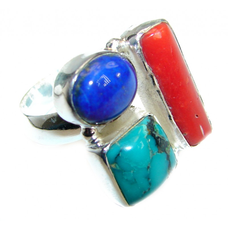 Turquoise .925 Sterling Silver handmade Ring size 8