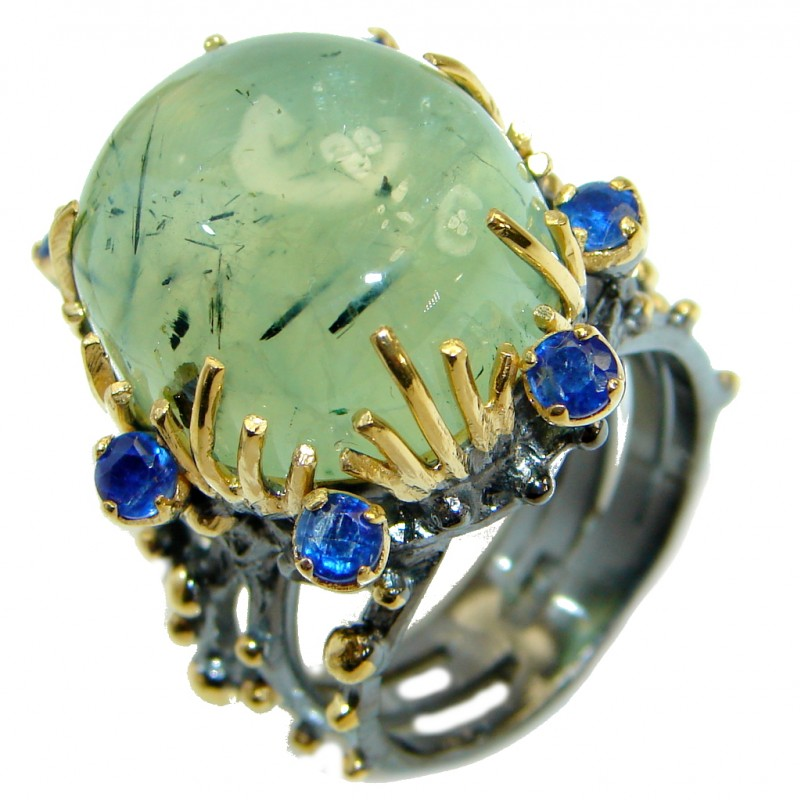 Supernova Green Moss Prehnite 14 KGold over .925 Sterling Silver handcrafted ring; s. 9