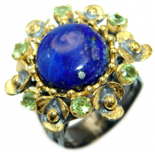 Genuine Lapis Lazuli .925 Sterling Silver handmade Ring size 7 1/2