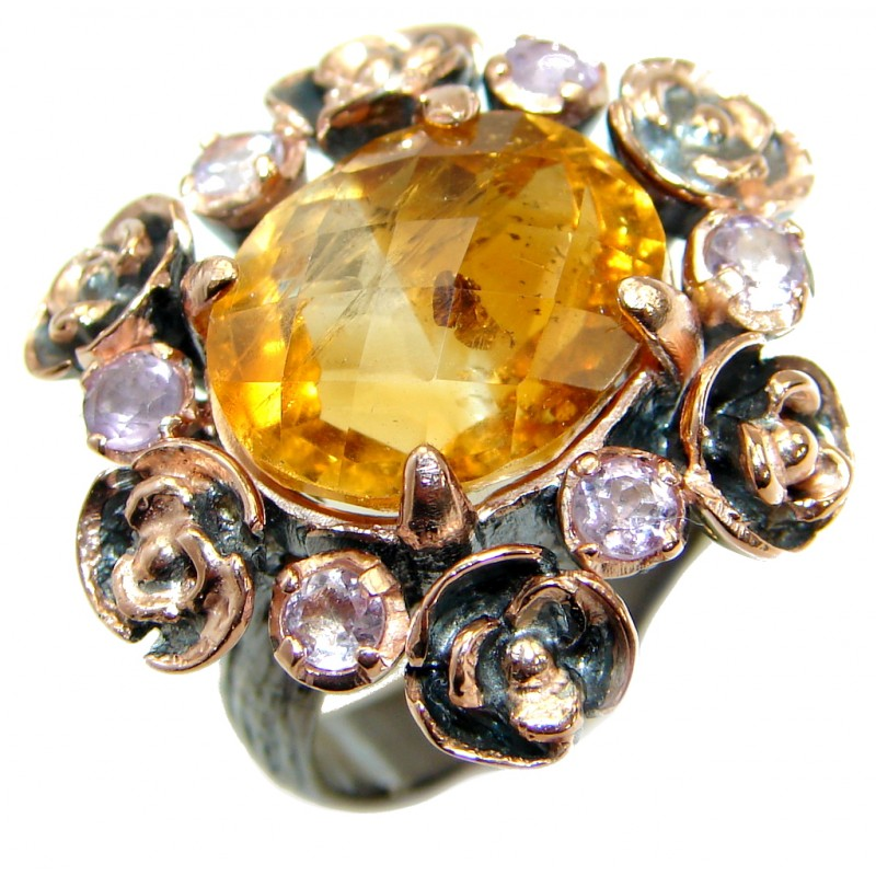 Large Genuine Oval cut Citrine 14K Gold over .925 Sterling Silver Cocktail Ring size 7