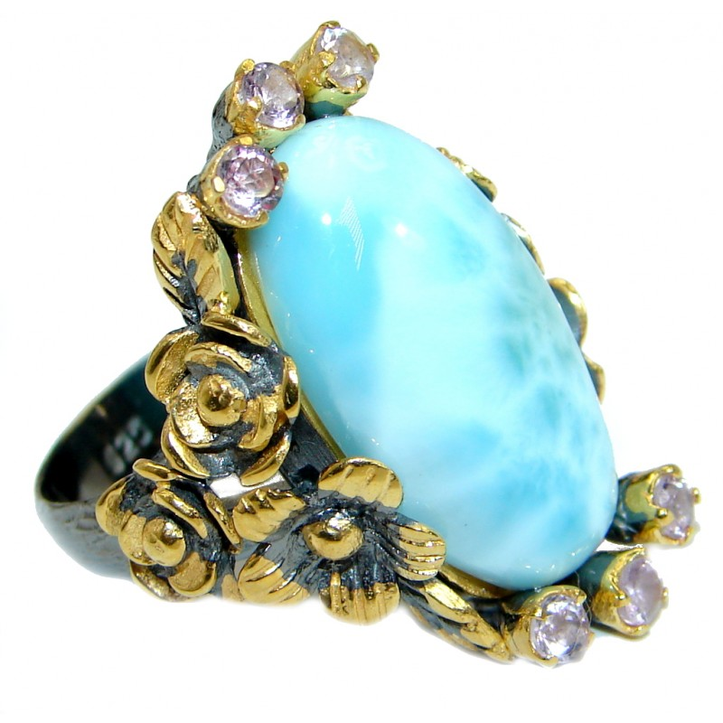 Genuine Larimar 14K Gold over .925 Sterling Silver handcrafted Cocktail Ring s. 8