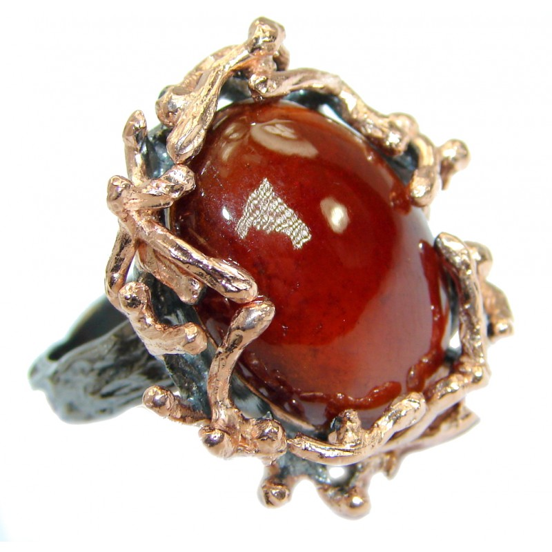 Genuine 42ct Hessonite Garnet 14K Gold over .925 Sterling Silver handmade Ring size 7