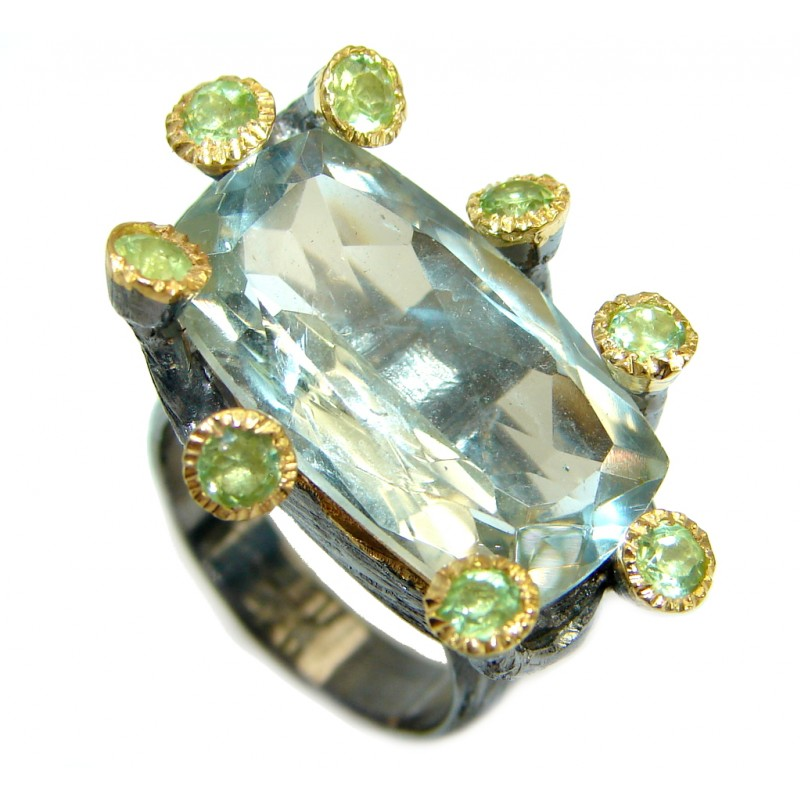 Emerald cut Green Amethyst .925 Sterling Silver handmade Cocktail Ring s. 6