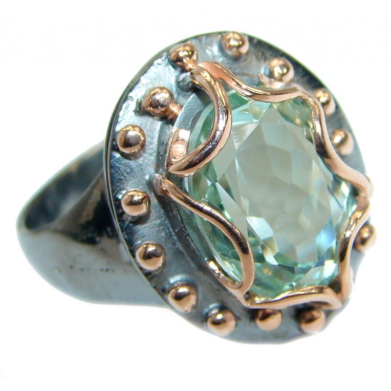 Oval cut Green Amethyst .925 Sterling Silver handmade Cocktail Ring s. 9