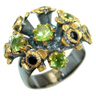 Energazing Peridot Gold over oxidized .925 Sterling Silver Ring size 8