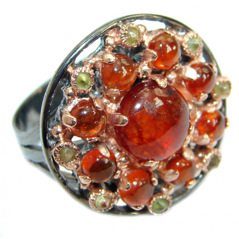 Genuine Hessonite Garnet 14K Gold over .925 Sterling Silver handmade Ring size 9