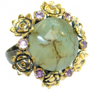 Supernova Green Moss Prehnite .925 Sterling Silver handcrafted ring; s. 8 adjustable