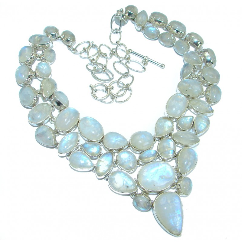 Drops of the Rain genuine Moonstone .925 Sterling Silver handcrafted Statement necklace
