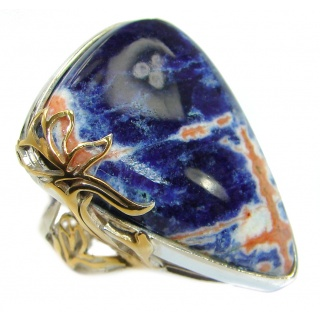 Irresistible Blue Sodalite Gold over .925 Sterling Silver handcrafted Ring s. 7 adjustable