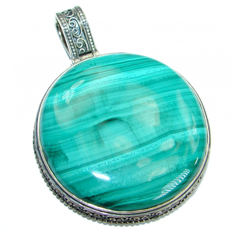 Huge Vintage Style Green Malachite Oxidized .925 Sterling Silver handmade Pendant