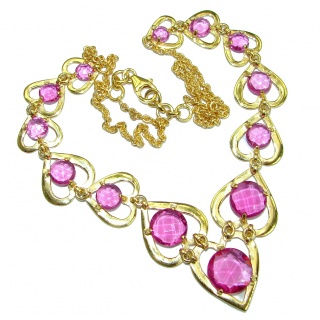 Genuine Pink Topaz 14K Gold over .925 Sterling Silver handmade Statement Necklace