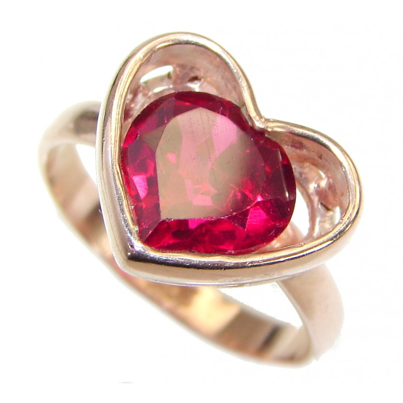 Exotic Red topaz Rose Gold over .925 Silver Ring s. 6 1/4