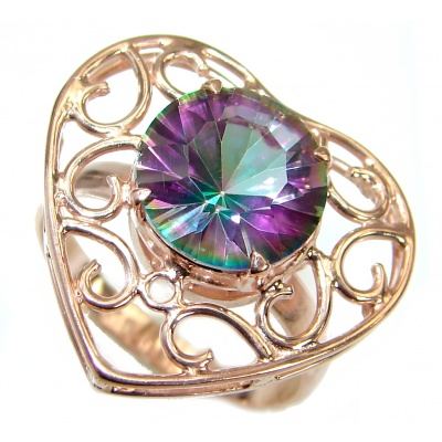 Exotic Pink Topaz Rose Gold over .925 Silver Ring s. 7
