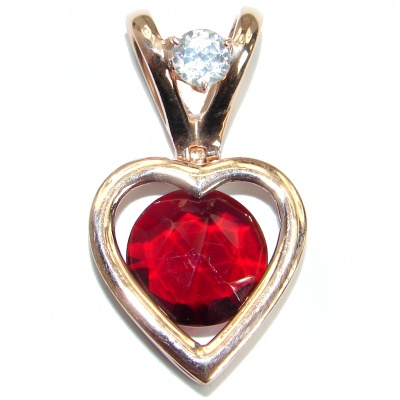 Perfect Red Topaz Heart Rose Gold over .925 Sterling Silver handcrafted Pendant