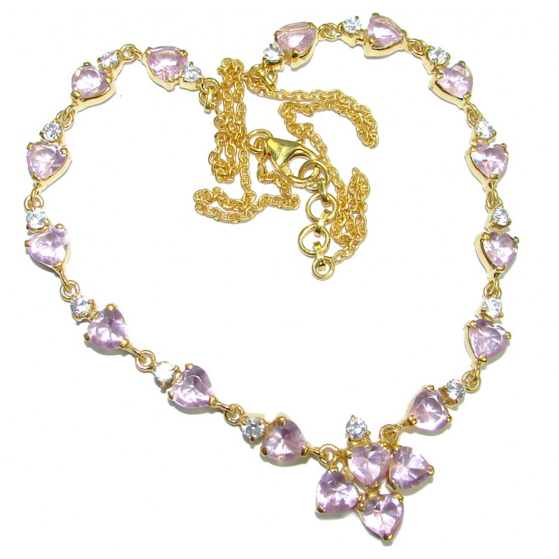 Genuine Pink Amethyst 14K Gold over .925 Sterling Silver handmade Statement Necklace