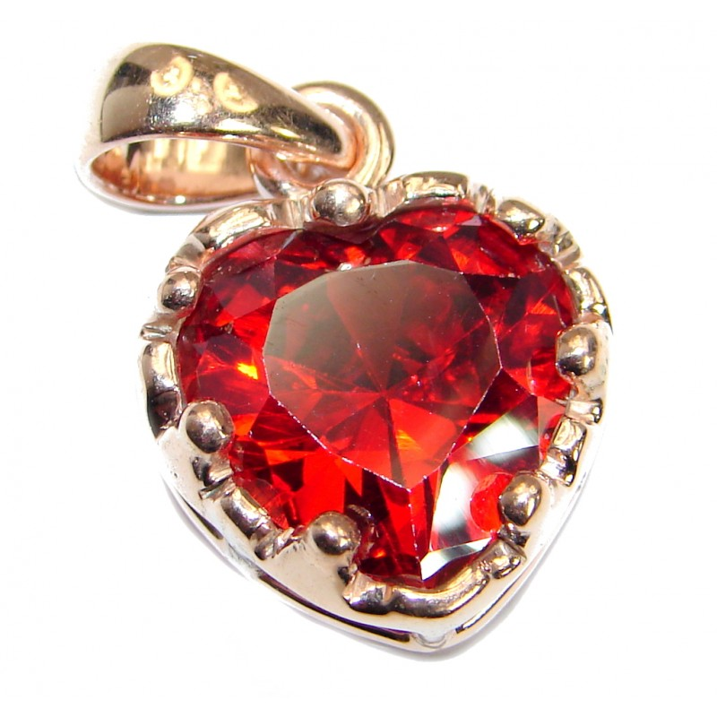 Perfect Red Topaz .925 Sterling Silver handcrafted Pendant