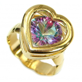 Exotic Pink Topaz 14K Gold over .925 Silver Ring s. 7 adjustable