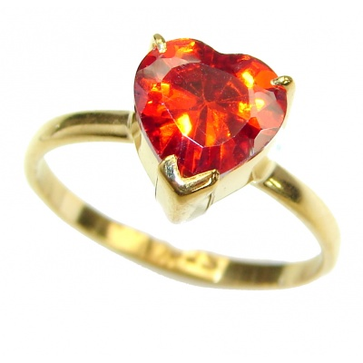 Exotic Red Topaz 14K Gold over .925 Silver Ring s. 6 1/4