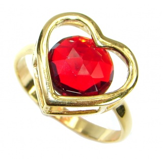 Exotic Red Topaz 14K Gold over .925 Silver Ring s. 8