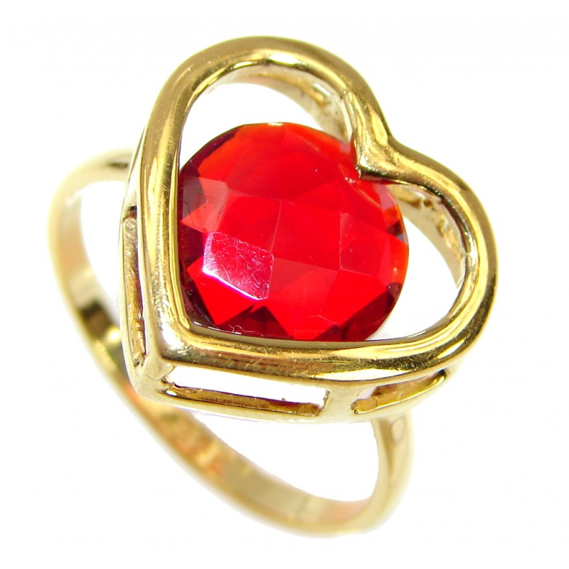 My Love Red Topaz 14K Gold over .925 Silver Ring s. 6