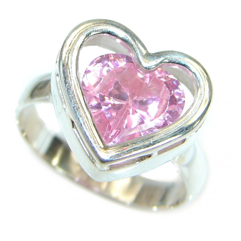 Classy Pink Topaz .925 Silver handmade Ring s. 6 1/4